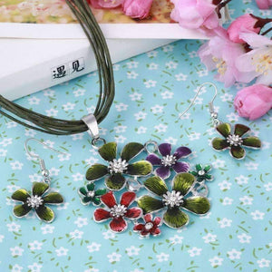 Spring Bouquet Enamel Flower Necklace and Earrings - In Three Colors