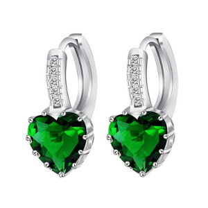 CLEARANCE - Heart Shaped Spring Green Diamond CZ Solitaire Hoop Earrings