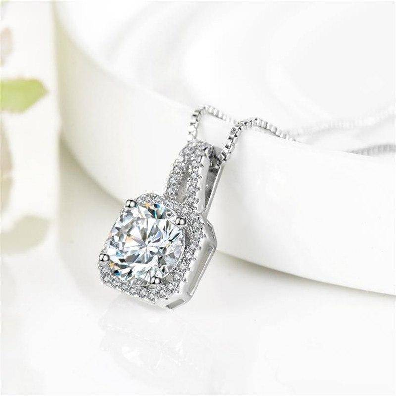 14K White Gold plated Lavish 2CT CZ Diamond Necklace For Woman