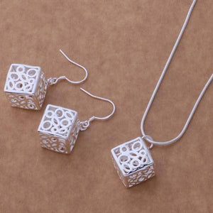 Be Square Silver Necklace & Earrings Set