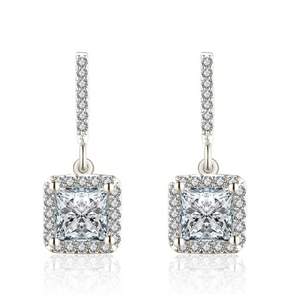 Soirée Princess Cut Halo Zirconia Earrings