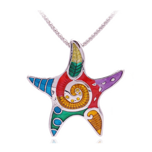ON SALE - Showy Starfish Enamel Pendant Necklace