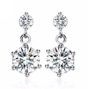 14K White Gold Plated Starry Nights IOBI Crystal Earrings For Woman