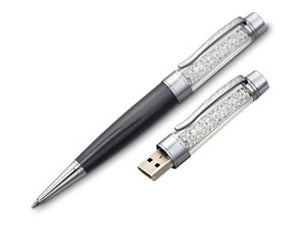 Stellar Floating Crystal Ballpoint Pen With 8G Flash Drive