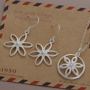 ON SALE - Shine Flower Sterling Silver Necklace and Earrings Set