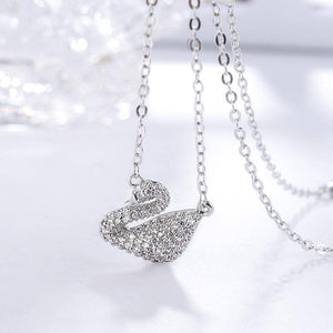 Sparkling Grace Crystal Swan Necklace
