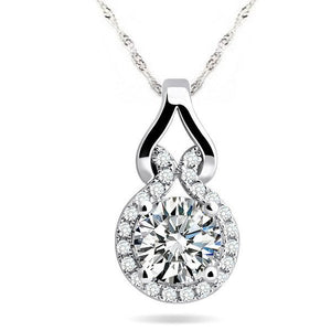 Sweet Embrace 18K White Gold Plated 1.2 Tcw CZ Simulated Diamond Necklace for Woman Special Occasion