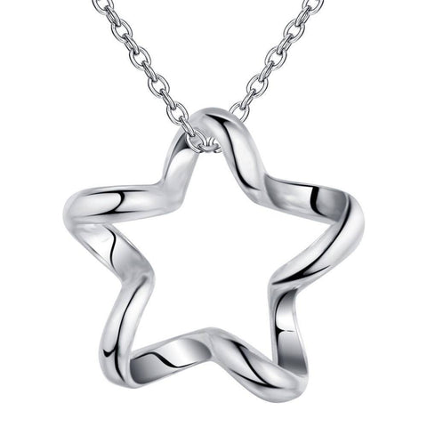 Swervy Star Sterling Silver Necklace & Earrings Set