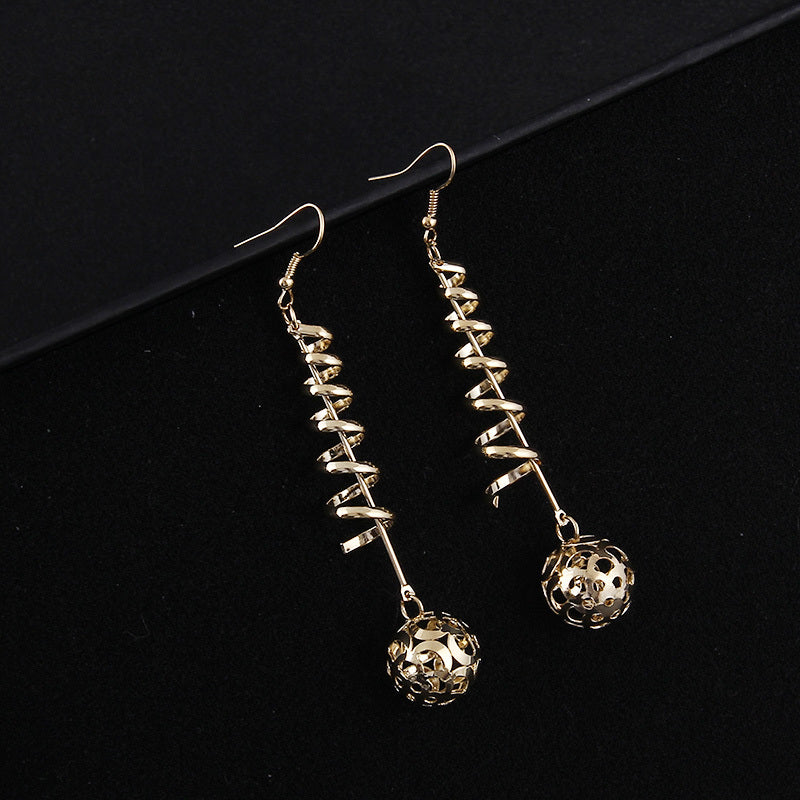 Swirly Dangling Spheres Earrings