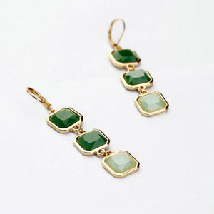 Talya Squares Jade Drop Earrings