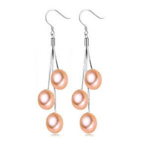 Peach Triple Genuine Freshwater Pearl Sterling Silver Tassel Earrings for Women