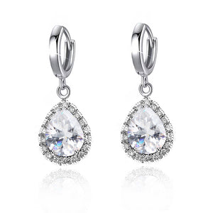ON SALE - Teardrop Halo Zirconia Dangling Hoop Earrings