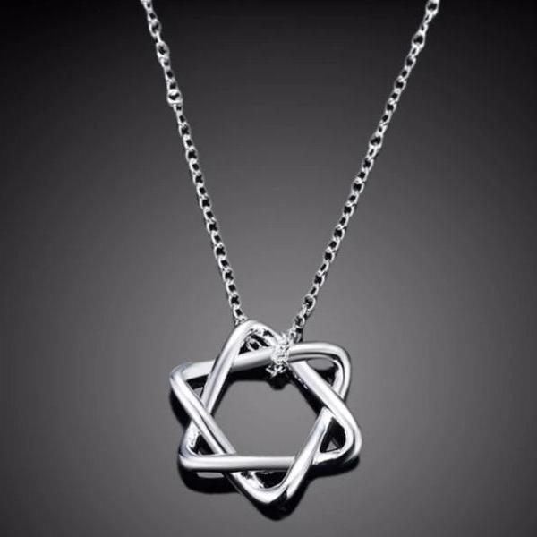 Thin Curves Star of David Sterling Silver Necklace