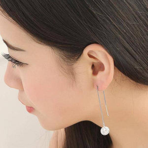 14K Gold Plated Naked IOBI Crystals Thread Drill Earrings For Woman