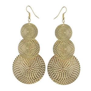Dangling Basket Weave Circles Earrings in Gold or Silver
