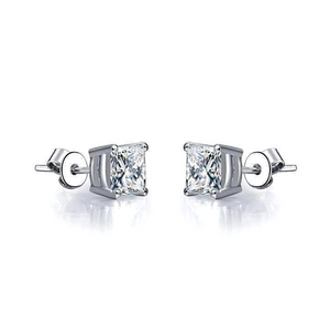 Tiara Princess Cut IOBI Simulated Diamond Solitaire Stud Sterling Silver Earrings for Woman