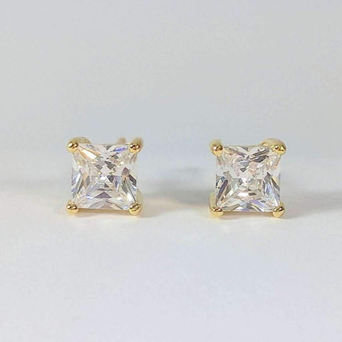 Tiara Princess Cut IOBI Cultured Diamond Solitaire Stud Earrings