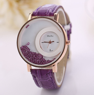 Time to Shine! Oversize Wrist Watch with Floating Crystals