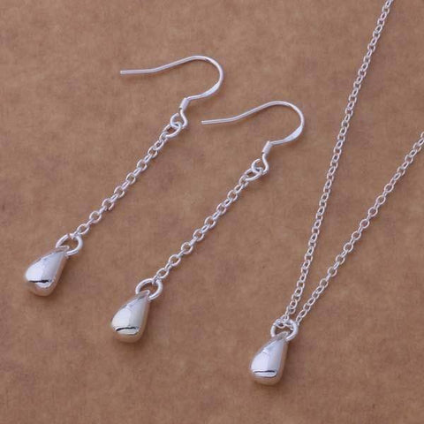 Dangling Droplets Sterling Silver Necklace & Earrings Set
