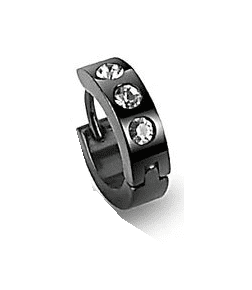 Tiny Black Stainless Steel CZ Accented Huggie Hoop Single Earring