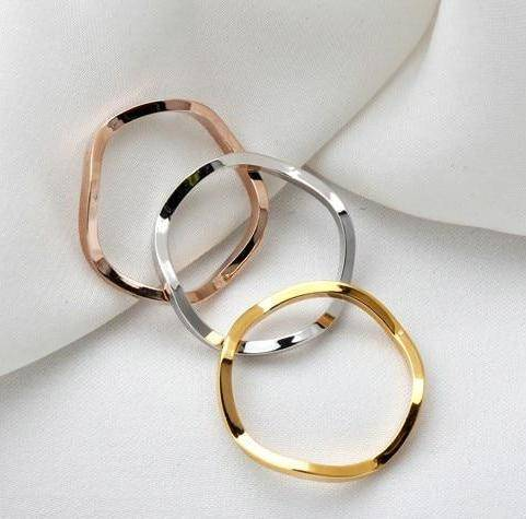 Wavy Tri-Color Stack Rings