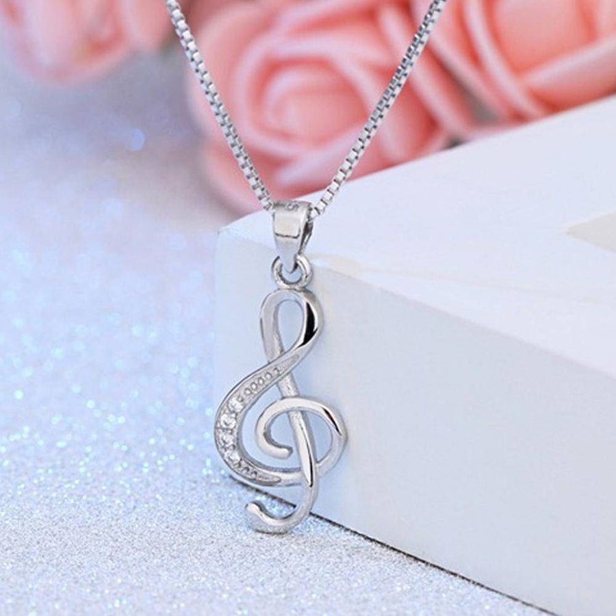 Musical Beginnings CZ Sterling Silver Treble Clef Necklace