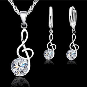 ON SALE - Symphony of Sparkle Treble Clef Necklace and Earrings Set