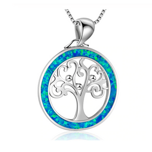 Artisan Opal Blue Tree Of Life Enamel Pendant Necklace