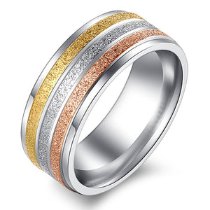 Tri-Color Striped 8mm Stainless Steel Band