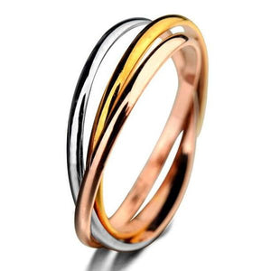 Trinity Tri-Color Interlocked Rolling Rings