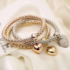 Tri-Color Austrian Crystal Heart Stretch Bracelet Set