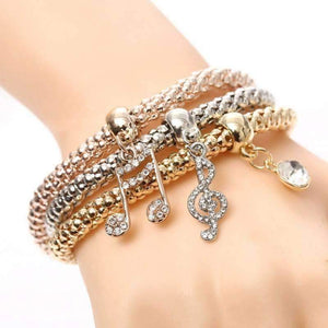 Music Notes Tri-Color Austrian Crystal Stretch Bracelet Set