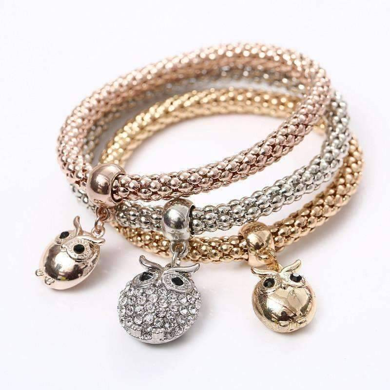 Charming Owl Tri-Color Austrian Crystal Stretch Bracelet Set