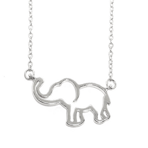 Trunk Up Gold Plated Lucky Elephant Necklace for Woman