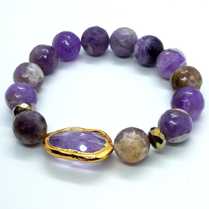Natural Amethyst Briolette Stretch Bead Bracelet