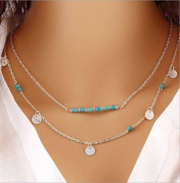 ON SALE - Turquoise Bead Double Layer Necklace