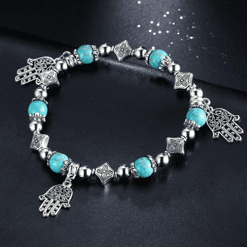 Multi-Layer Turquoise Hamsa Stretch Bracelet