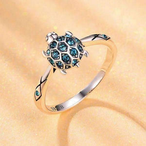 Aquatic Delight Crystal Sea Turtle Sterling Silver Ring