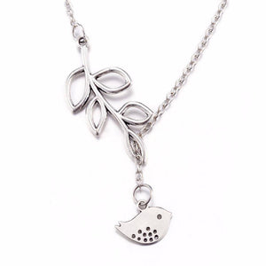 14K White Gold Plated Cute Bird Leaf Vine Thread Necklace for Woman Everyday Wear or Gift