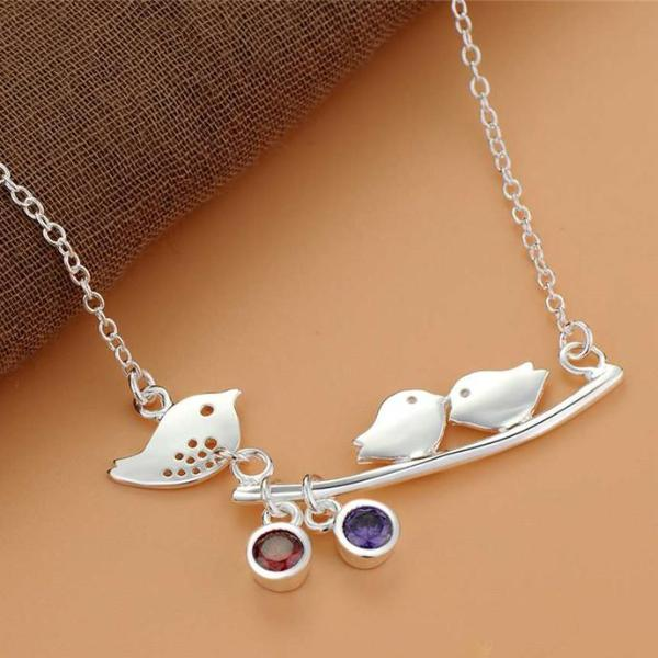 Tweet Birdy Mom & Babies Sterling Silver Branch Necklace