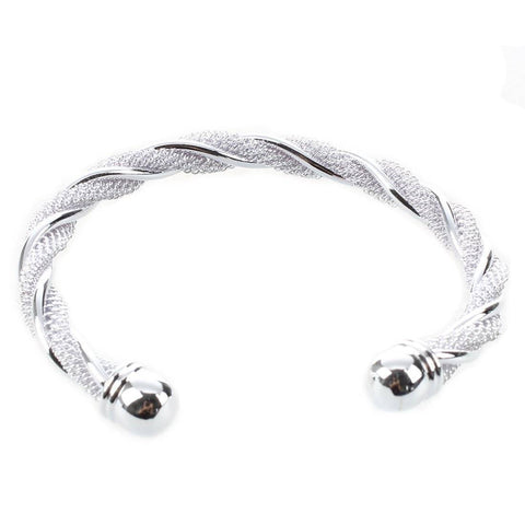 ON SALE - Twisted Mesh Silver Cuff Bracelet