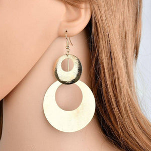 ON SALE - Dangling Double Disc Earrings in Gold or Silver
