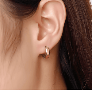 Two Tone Polished Stainless Steel Huggie Hoop Earrings - For Men or Women