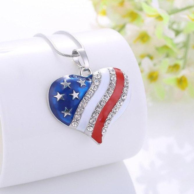 Heart of America Enamel and CZ Necklace