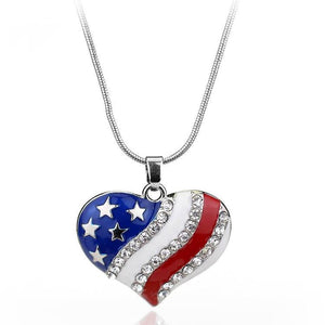 ON SALE - Heart of America Enamel and CZ Necklace