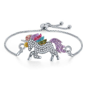 14K White Gold Plated Rainbow Crystal Unicorn Shiny And Sparkly Bracelet For Woman