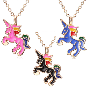 A Little Fantasy Unicorn Necklace In Blue Black or Pink