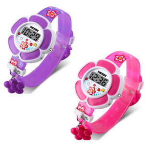 Flower Girl Digital Watch in Pink or Purple - Kids Watch