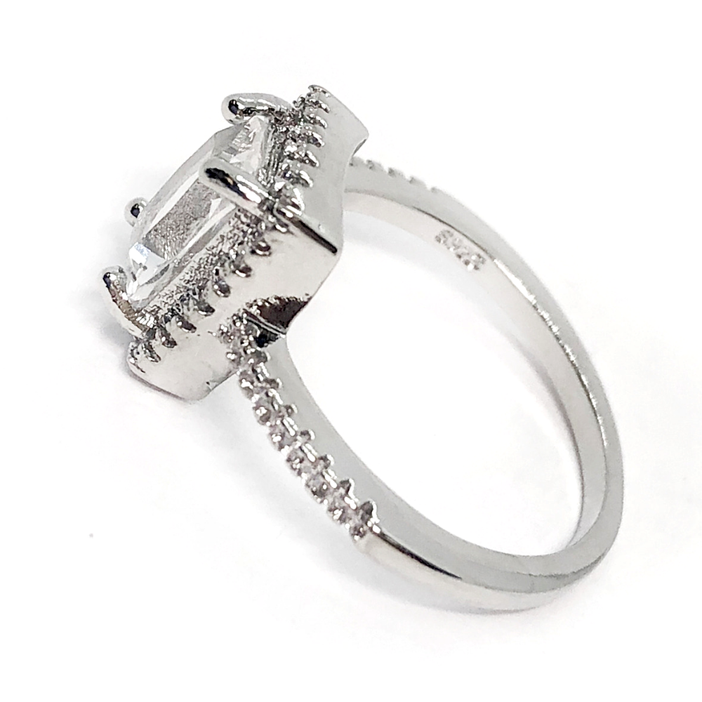 2a201c84761d7 CLEARANCE - Bonne Vie Radiant Emerald Cut White Zirconia Halo Ring