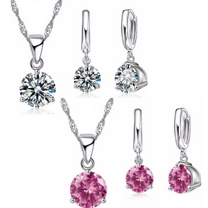 Secret Solitaire Round Austrian Crystal Necklace & Earrings Set